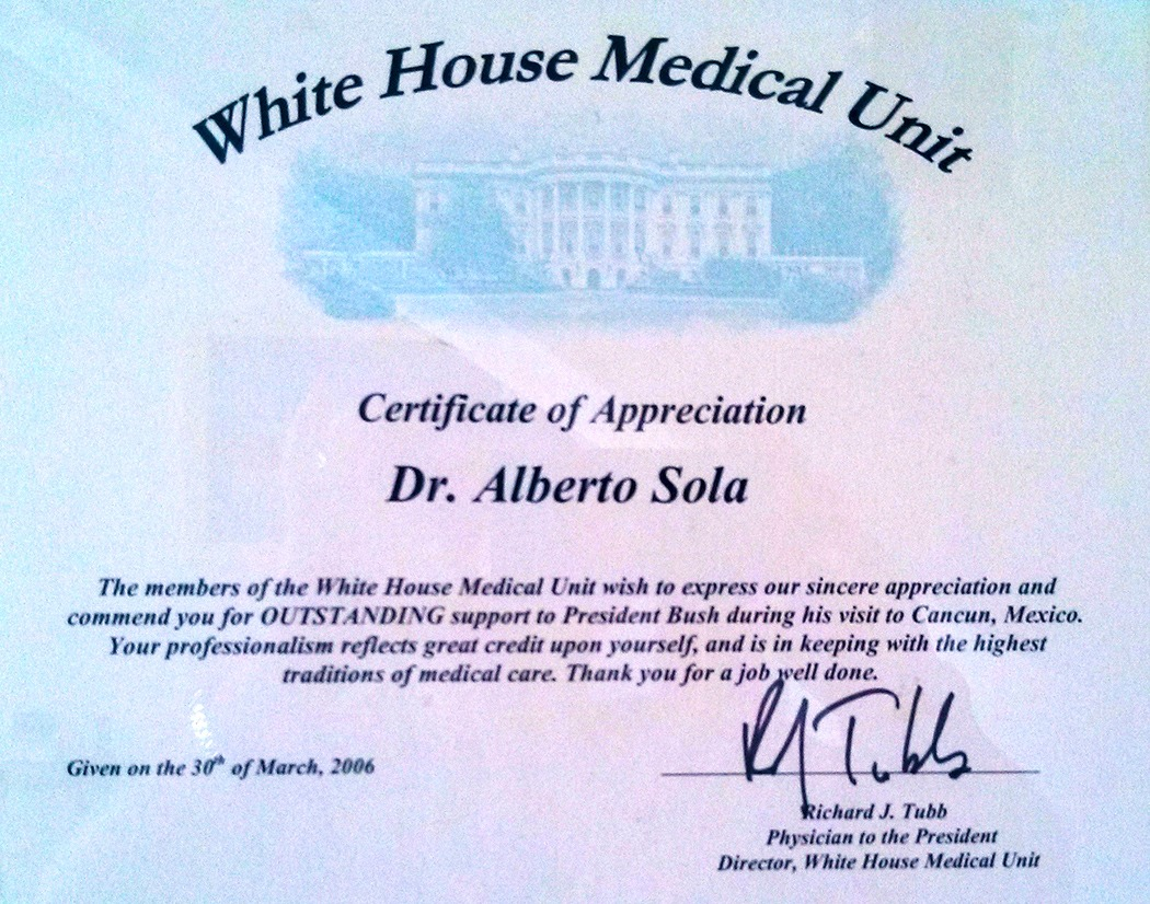 Dr. Alberto Sola - White House Medical Unit